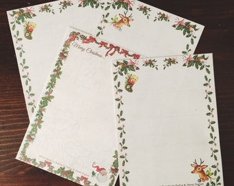 Vintage Inspired Christmas Writing Paper Set I- Stationery-Note Paper