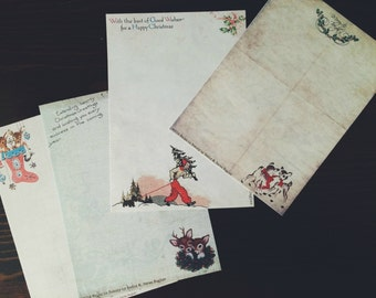Vintage Inspired Christmas Writing Paper Set II- Stationery-Note Paper