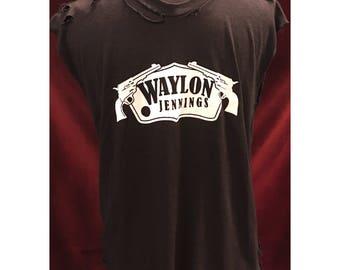 Custom Vintage Distresed Waylon Jennings Tshirt With Gold & Silver Swarovski Detail