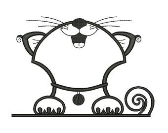 Outline Cat Embroidery Designs Style 3 Machine Embroidery Designs PES 11 Size  - INSTANT DOWNLOAD