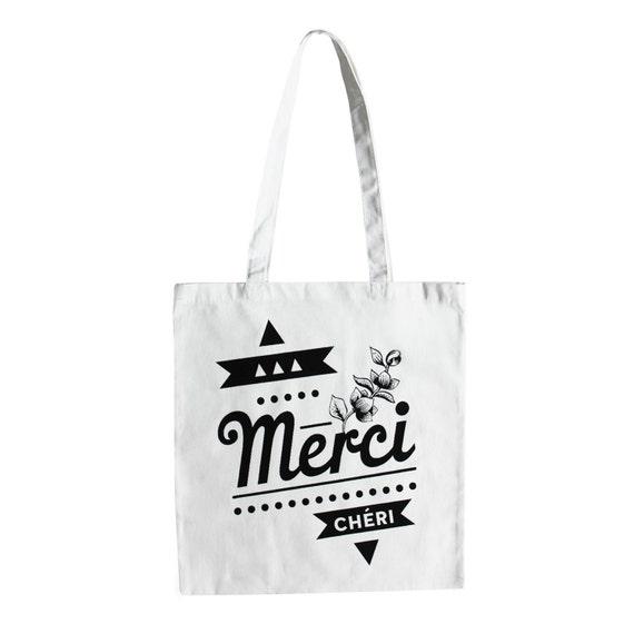 Tote bag graphique noir et blanc en coton, illustration fleurs et typographie - Merci Chéri