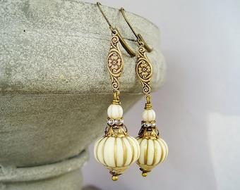 Earrings cream white antique bronze vintage rhinestone rondelles brass ornaments pumpkin beads offwhite czech glass beads