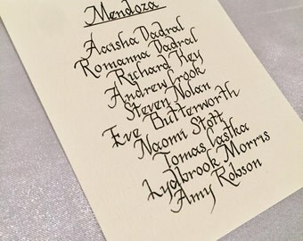 Handwritten Calligraphy Table Plan Cards - Handwritten in Rio Font