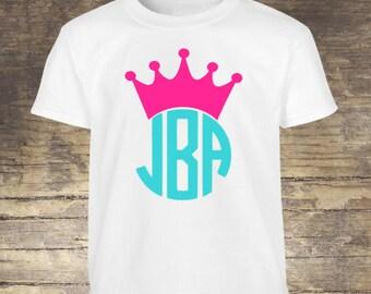 Kids personalized crown monogram shirt / monogram shirt / crown monogram / girls shirt / personalized monogram / personalized shirt /
