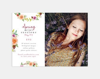 Spring Mini Session Marketing Template for Photographers - 7x5 Photoshop Card Marketing Board Flyer Template for Photographers
