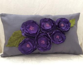 Purple Flower Pillow, Flower Pillow,Piped Pillow, Gray Pillow, Decorative Pillow, Wedding Accent Pillow, Sofa Cushion, Accent Pillow