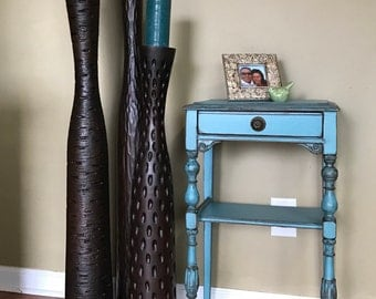 SOLD!!!!! Gorgeous Antique Teal Nightstand with Amazing Legs SOLD!!!!