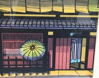 Clifton Karhu Woodblock Print-Gion Machi C.1995