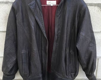 Vintage Womens Brown Soft Pebbled Leather Jacket Slouch 80s XS