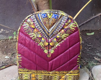 African Wax Zussu Backpack KIDS 'Dashiki Burgundy'
