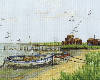 DMC BK965 Boats at Walberswick Counted Cross Stitch Kit