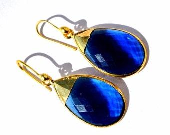 24k Gold Electroplated Kyanite Blue Quartz Bezel Set Earrings, Gemstone Earrings, Electroformed earrings, handmade earrings, Bridal Earrings