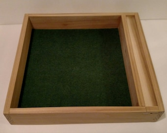 """Hand-crafted dice tray with dice storage, 13"""" X 12"""" beautiful"""