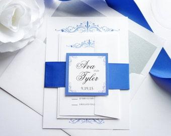 Royal Blue Wedding Invitation, Blue Wedding Invitation, Classic, Formal Wedding Invitation, Wedding Invites - SAMPLE SET