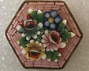 Pretty Vintage Micro Mosaic Pin Italy