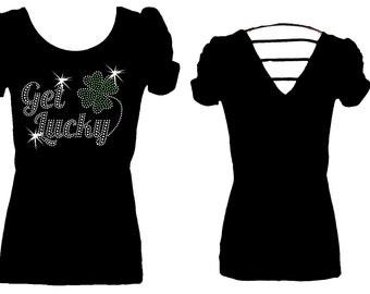 Get Lucky Rhinestone Shamrock St Patricks Day String Back Womens Tee Shirt Top
