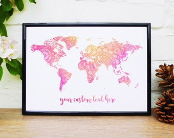 Monochrome print world map custom quote poster slate wall art mandala world map wall art custom map print personalised quote name zen map of the world gumiabroncs Image collections