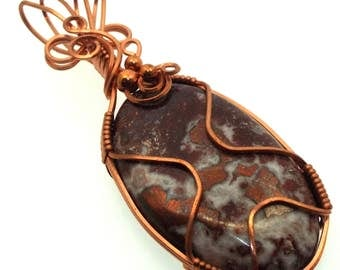 Copper In Quartz Gemstone Wire Wrapped Pendant Design 1