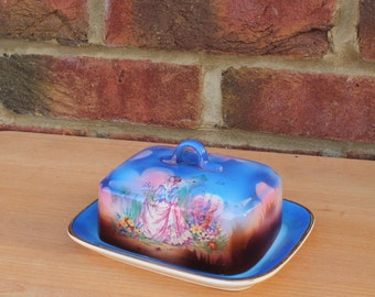 Art Deco Blue Porcelain Butter Dish