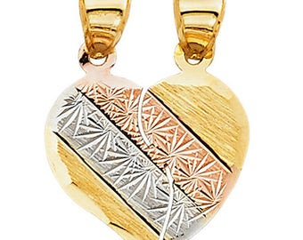 Te Amo Broken Heart Pendant Three Tone 14k Yellow Gold - Broken Heart Pendant