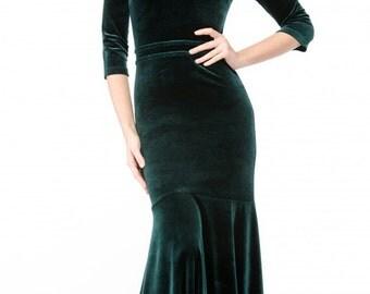 Evening long dress Velvet dress floor Spring Autumn occasion dress Elegant maxi dress Dark green velvet dress