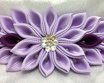 Lavender And Purple Kanzashi Style French Barrette