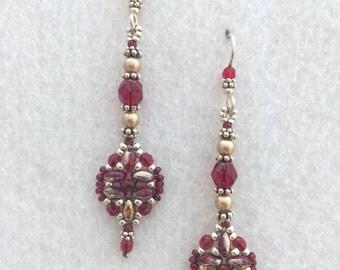 Red Cryatal Beaded  Earrings