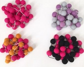SALE Girls Wool Felt Ball Garland 2.5cm balls Nursery Decor Party Bunting Baby Nursery