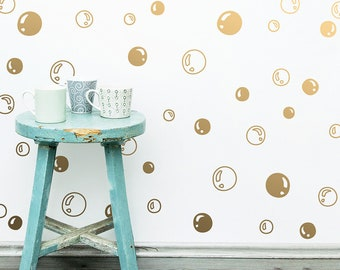 Bubble Wall Decals - Vinyl Wall Decals, Unique Hand Drawn Bubble Wall Stickers, Kids Room Decor, Gold Decals, Modern Wall Decals