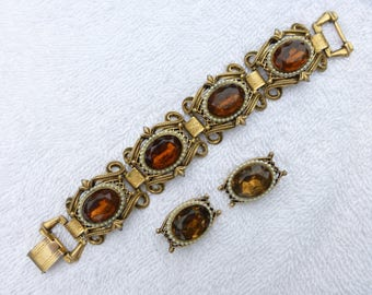 Florenza bracelet and earring set in gold tone, faux pearls and amber colored rhinestones AE50