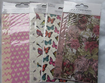 Decoupage Papers 4 Sheets and 2 Designs