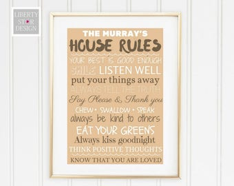 Personalised Family House Rules Print. House warming Present.  Anniversary Gift. Home Decor