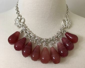 Beautiful Tear Drop Shaped Amber Color Glass Beads Necklace