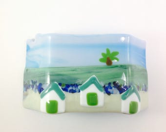 Stand alone fused glass candle votive