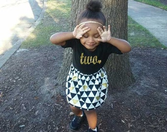 Girls Birthday Outfit, Choose Any Age, Two Year Old Birthday, Birthday, 4th Birthday, 5th Birthday, 1st Birthday, Three Year, Black and Gold