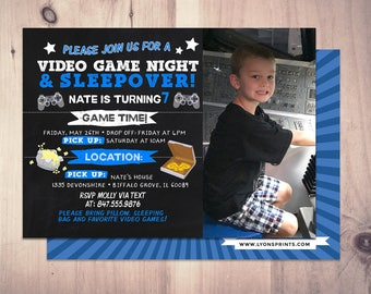 Sleepover party invitation / boy birthday invitations / sleepover invitation / super hero invitation / comic invitation / XBOX, video game