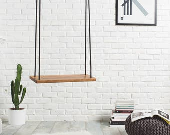 Tree swing for indoor or outdoor use, Nautic wood swing made of walnut