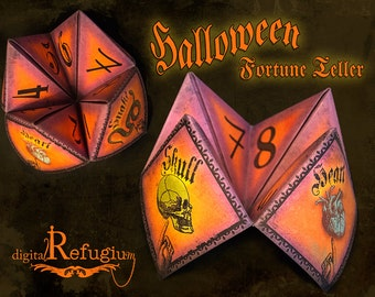 Halloween,printable Fortune Teller, Party equipment, INSTANT DOWNLOAD,  Digital Collage Sheet