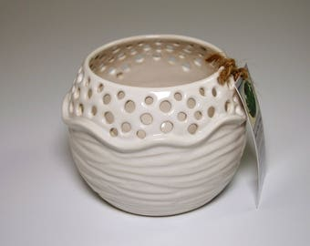Handmade Porcelain Candle Holder in glossy white glaze - perfect for your favorite votive or tea light candles