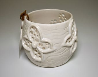 Handmade Porcelain Candle Holder in glossy white glaze - Butterfly design - perfect for your favorite votive or tea light candles