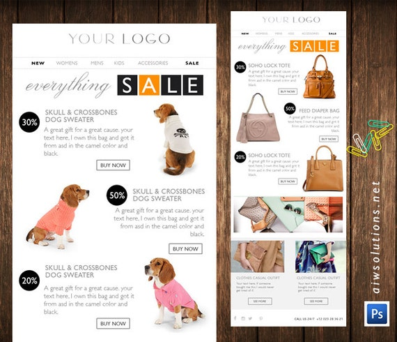 Email Newsletter PSD Template fashion email newsletter food