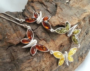 Stunning Sterling Silver Mixed Baltic Amber Butterfly Necklace