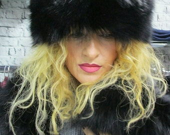 New!Natural,Real black color Fox Fur HAT!!!