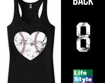 Baseball heart t-shirt Summer Tank top, Workout shirt, birthday Gift, Womens Tank Top,  Front Print CT-743 Back Print CT-991