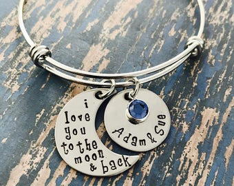 I love you to the moon and back Personalized Circle and Swarovski Crystal Birthstone Silver Bangle Bracelet