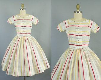 1950s striped sheer daydress/ doris dodson dress/ extra small xs