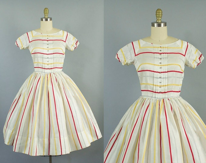 1950s striped sheer daydress/ doris dodson dress/ extra small xs