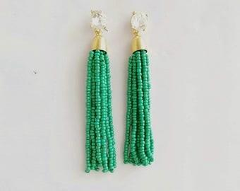 Beaded tassel Earrings Emerald Green Beads Clear Crystal Stud