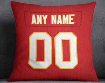 Kansas City Chiefs Custom Football Pillow Front and Back 18 x 18 - Print Personalized Select ANY Name & ANY Number