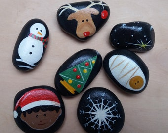 Hand Painted Story Stones-Set of 7, Christmas theme, fun for children and adults alike. stocking filler.